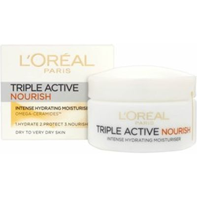 L'Oreal Paris Triple Active Nourish Moisturiser - Dry to Very Dry Skin 50ml