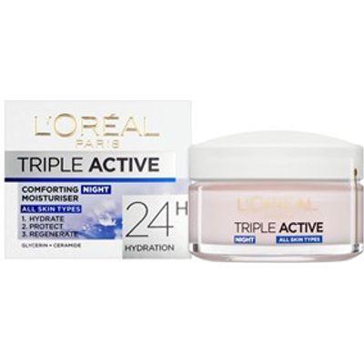 L'Oreal Paris Triple Active Night Hydrating Moisturiser - All Skin Types 50ml