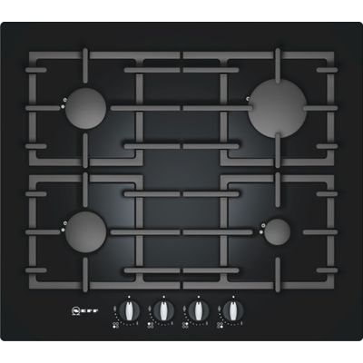 4242004138624: Neff T62S26S1 60cm Gas on Glass Hob in Black with Cast Iron Pan Supports