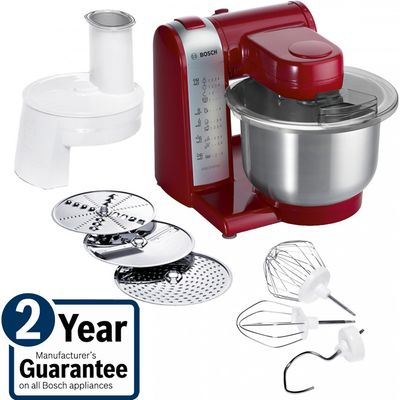 4242002721514 | Bosch MUM48R1GB 600W Food Mixer in Red with Stainless Steel bowl and accessories Store