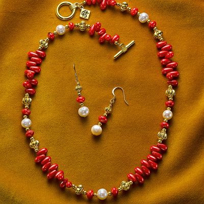 Medieval Coral Necklace & Earrings