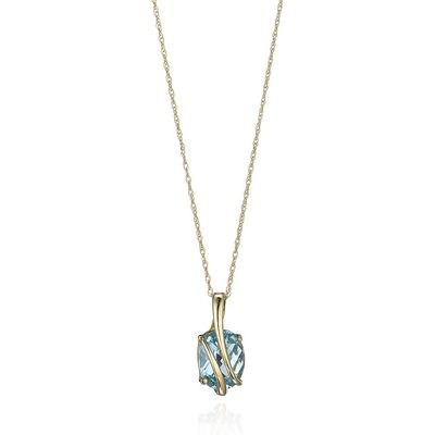 Wrapped In Gold Blue Topaz Pendant
