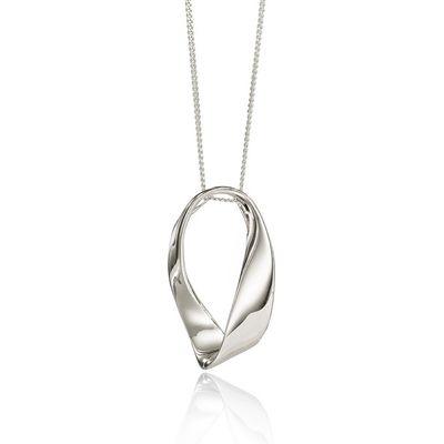 Silver Oval Twist Pendant