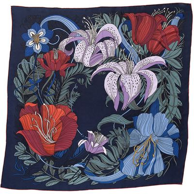 Botanic Blue Silk Scarf