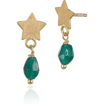 Emerald Jade Star Drop Earrings
