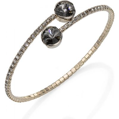 Grey Crystal Duo Cuff Bangle