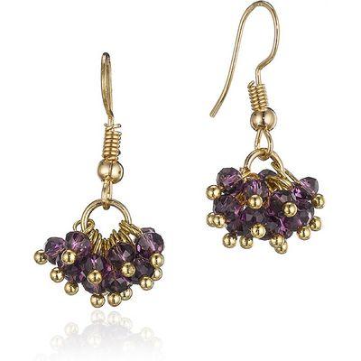 Purple Cluster Beaded Hook Earring