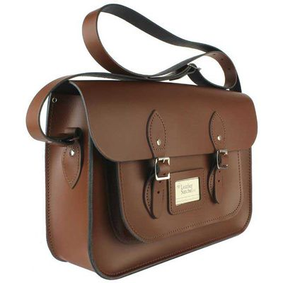 Leather Satchel 14 Inch, Brown