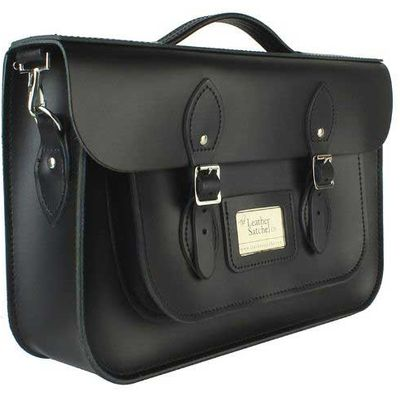 Leather Satchel 14 Inch, Black