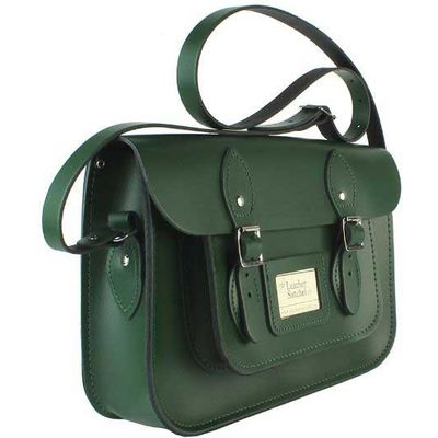 Leather Satchel 12.5 Inch, Green