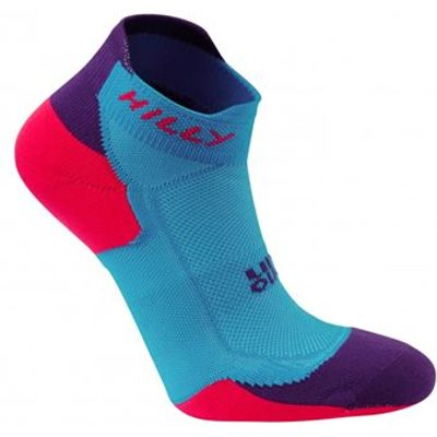 Hilly Lite-Cushion Socklet - Womens - Teal/Purple/Fluorescent Pink