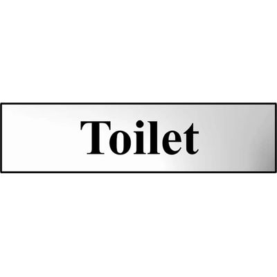 5015397202055   Scan Chrome Effect Toilet Sign 200mm 50mm Standard Store