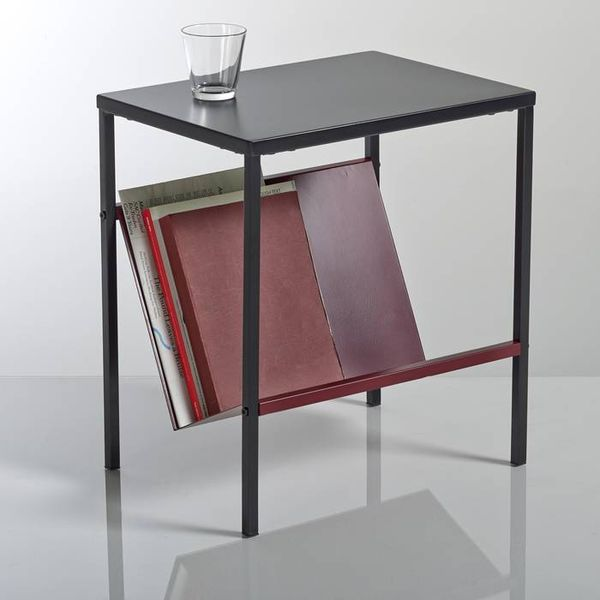 10. KURI Side Table Magazine Rack, black + burgundy: £81, La Redoute