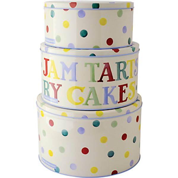 16. Emma Bridgewater Polka Dot Cake Tins, Set of 3: £37.5, John Lewis
