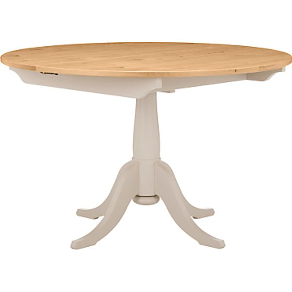 97. John Lewis Audley Round 4-6 Seater Extending Dining Table, Soft Grey: £799, John Lewis