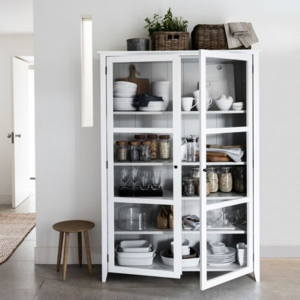 1. Glass Display Cabinet, WHITE GREY: £995, The White Company