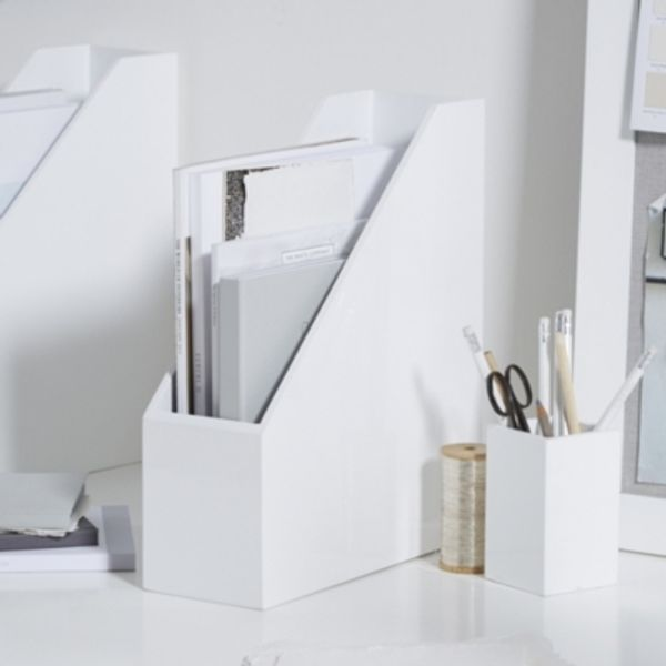 8. Lacquer Magazine Rack, White: £21, The White Company