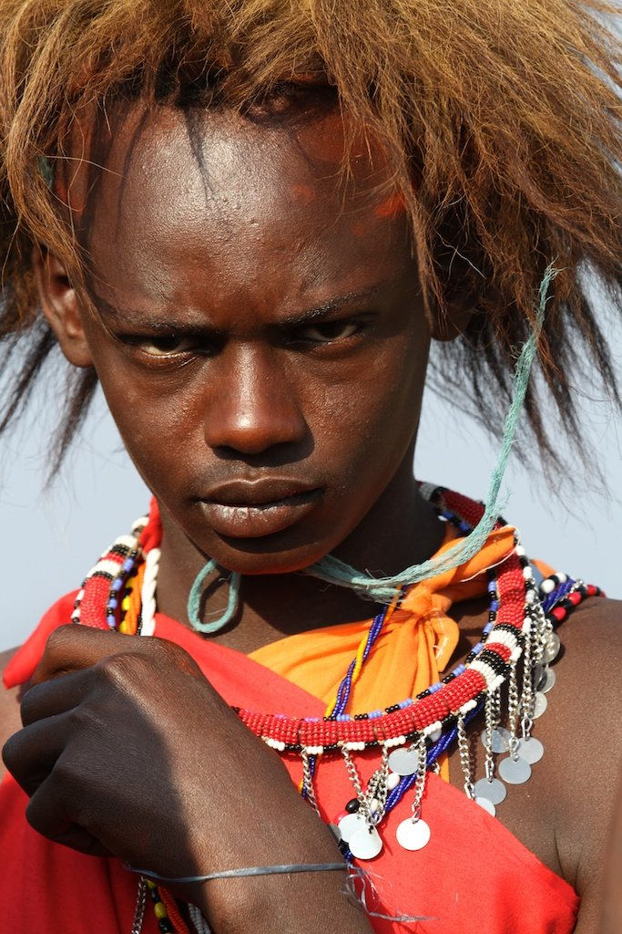 Maasai Warrior with the lion mane hat by lwain