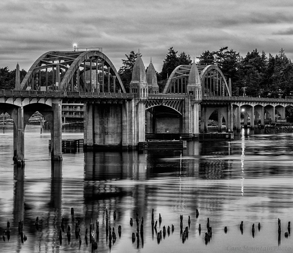 Black and White Bridge From the South by jgpittenger