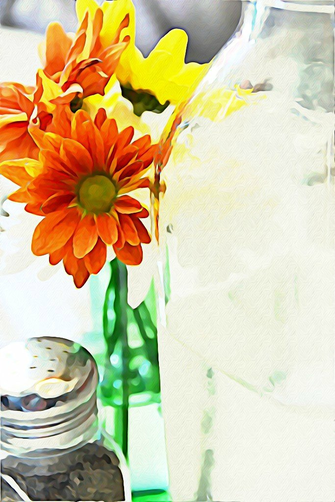 daisies on a green bottle by summerfield