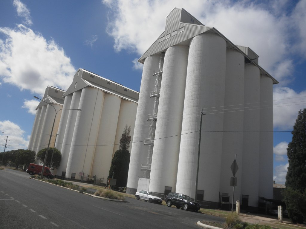 Peanuts silos in Kingaroy by kerenmcsweeney