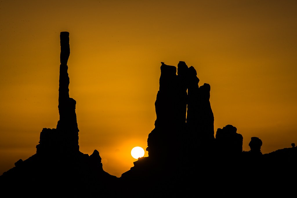Sunrise in Monument Valley at Totem Pole by kathyladley
