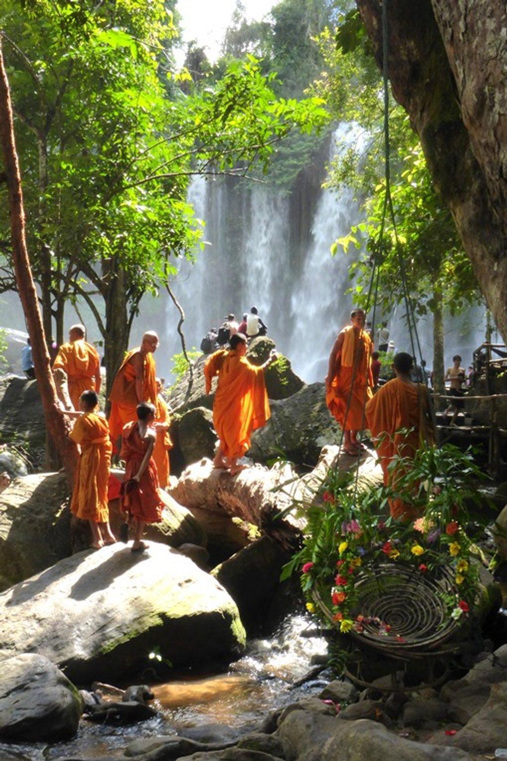 Cambodia - at Kulen waterfalls  by helenhall