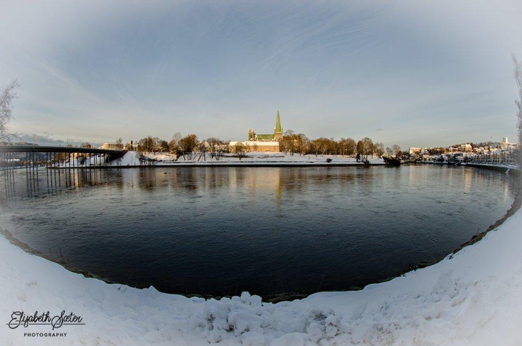 Winter at Nidelven( river Nid ) and Nidaros Cathedral by elisasaeter
