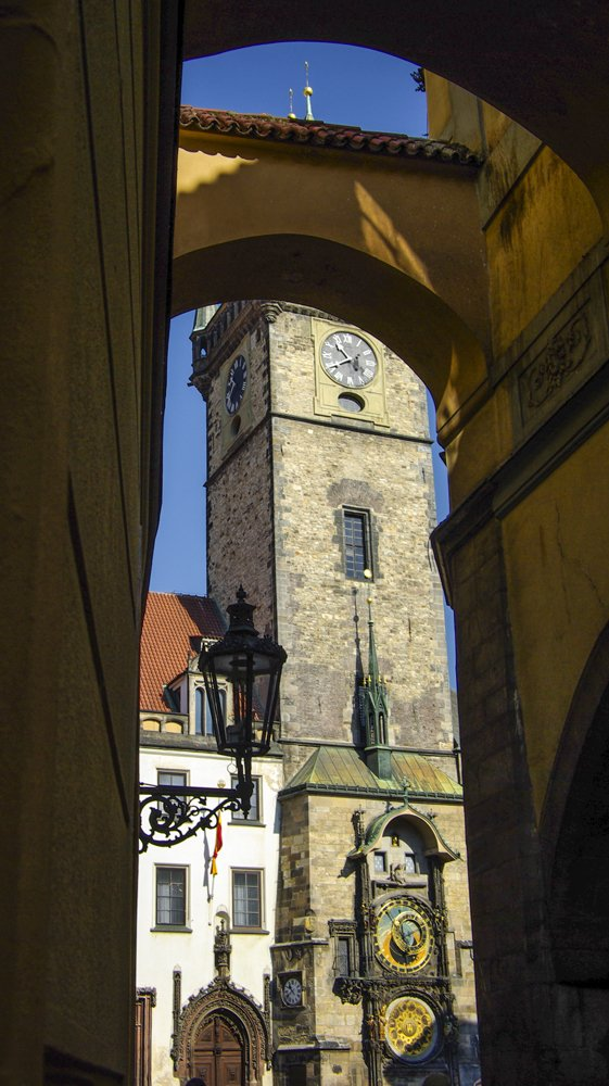 Prague, looking through to the famous astronomical clock by ivan