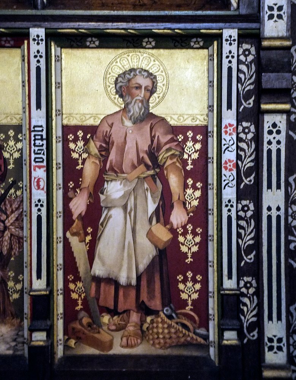 Hascombe church, Surrey, England:  painting of Joseph the carpenter (Tina's photo, my edit) by ivan