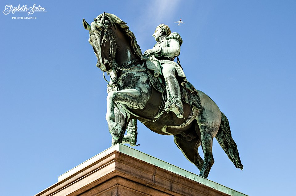 The rider statue of the Swedish-Norwegian union king Karl XIV Johan by elisasaeter