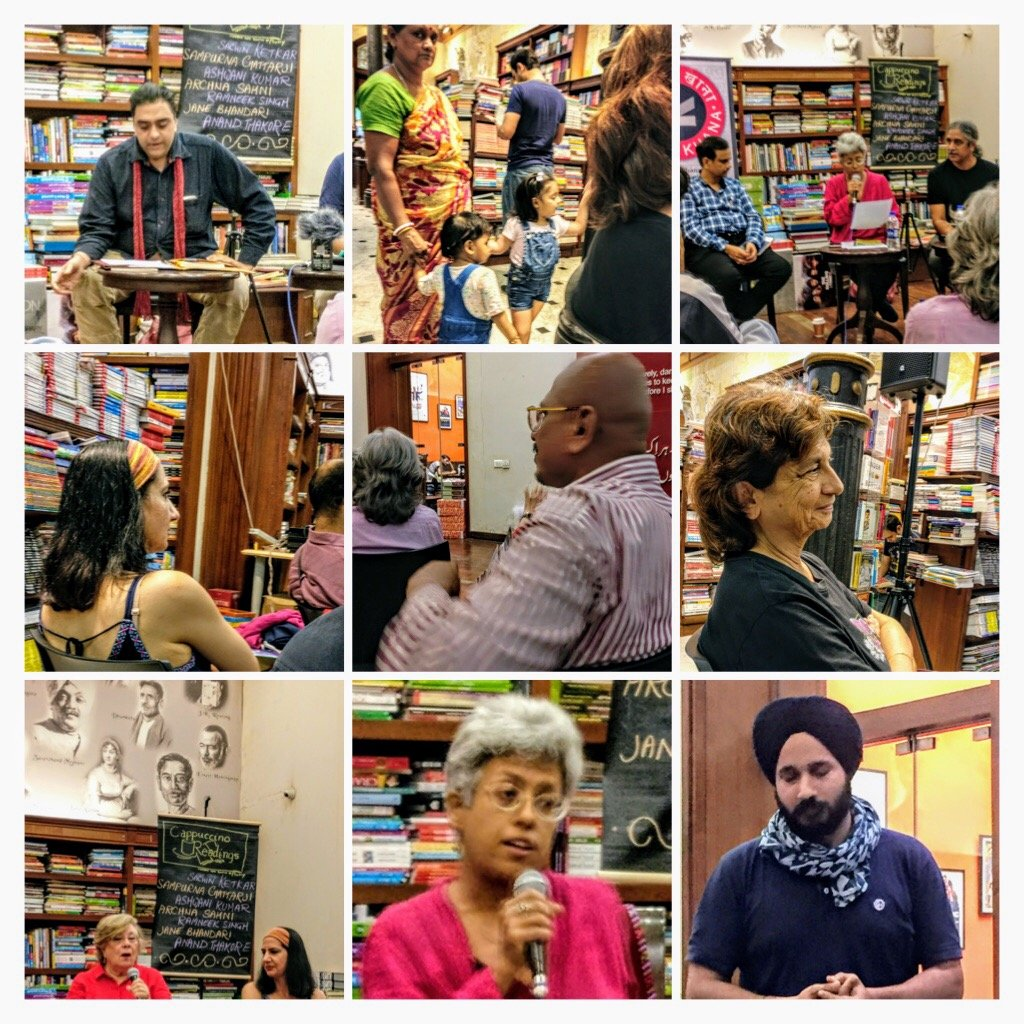 COLLAGE at a poetry reading  by veengupta
