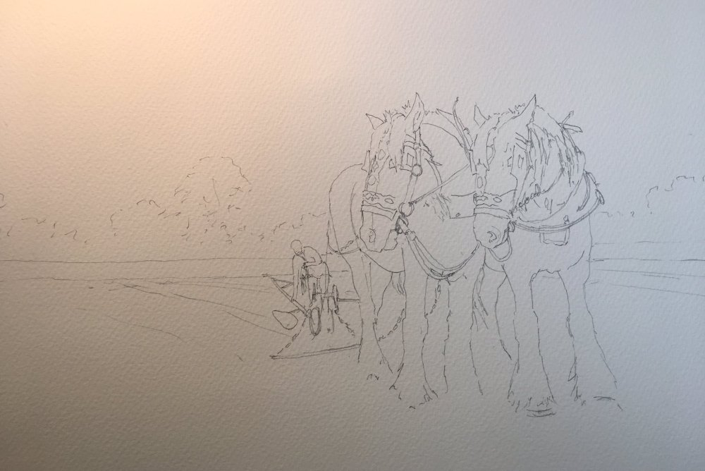 Working Girl and Horses :: Drawing by netkonnexion