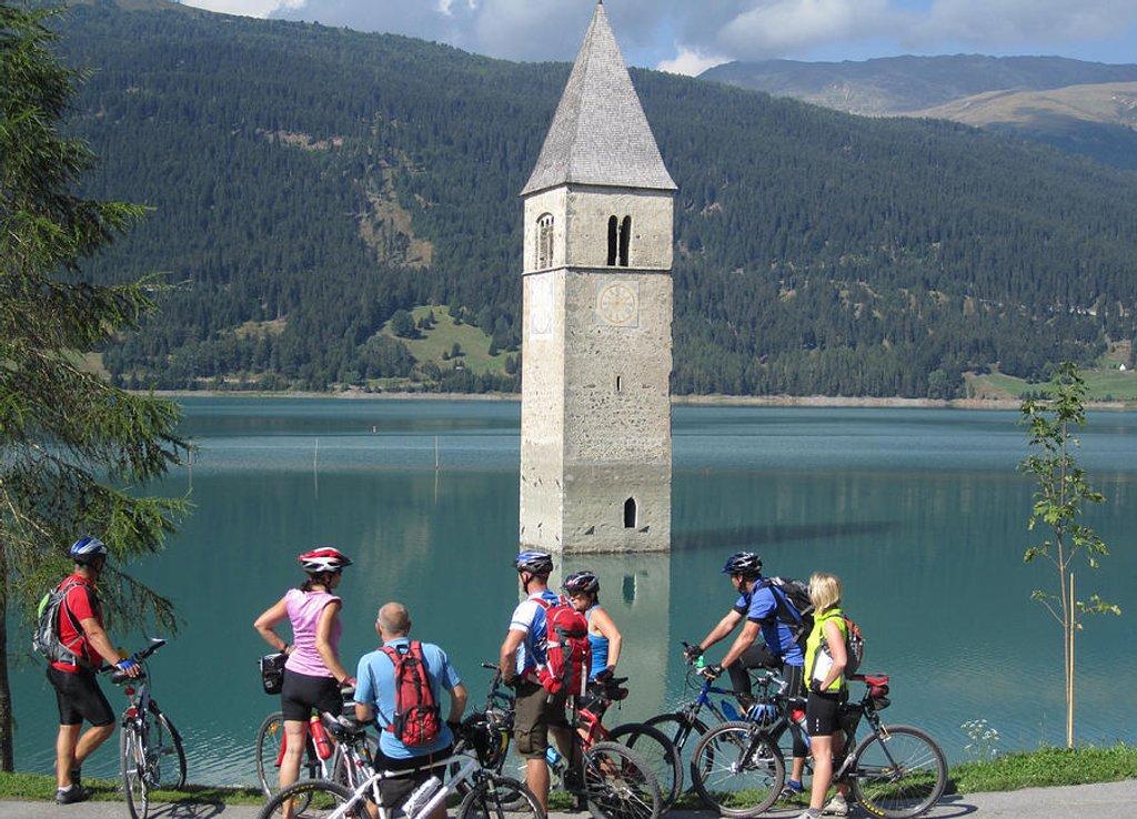 45 Tower in Lake Reschen by travel