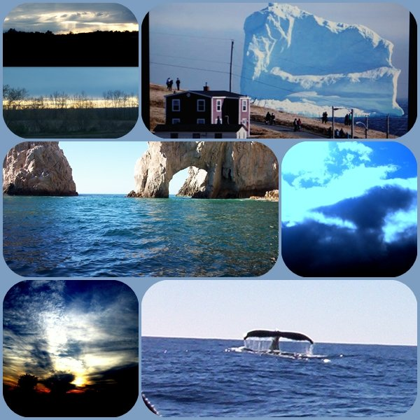 Blue sky clouds water iceberg - blue by bruni