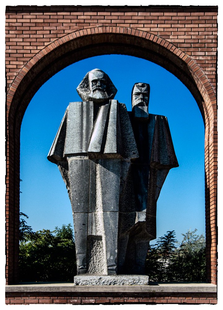 Statues of Marx & Engels, Memento Park, Budapest by ivan