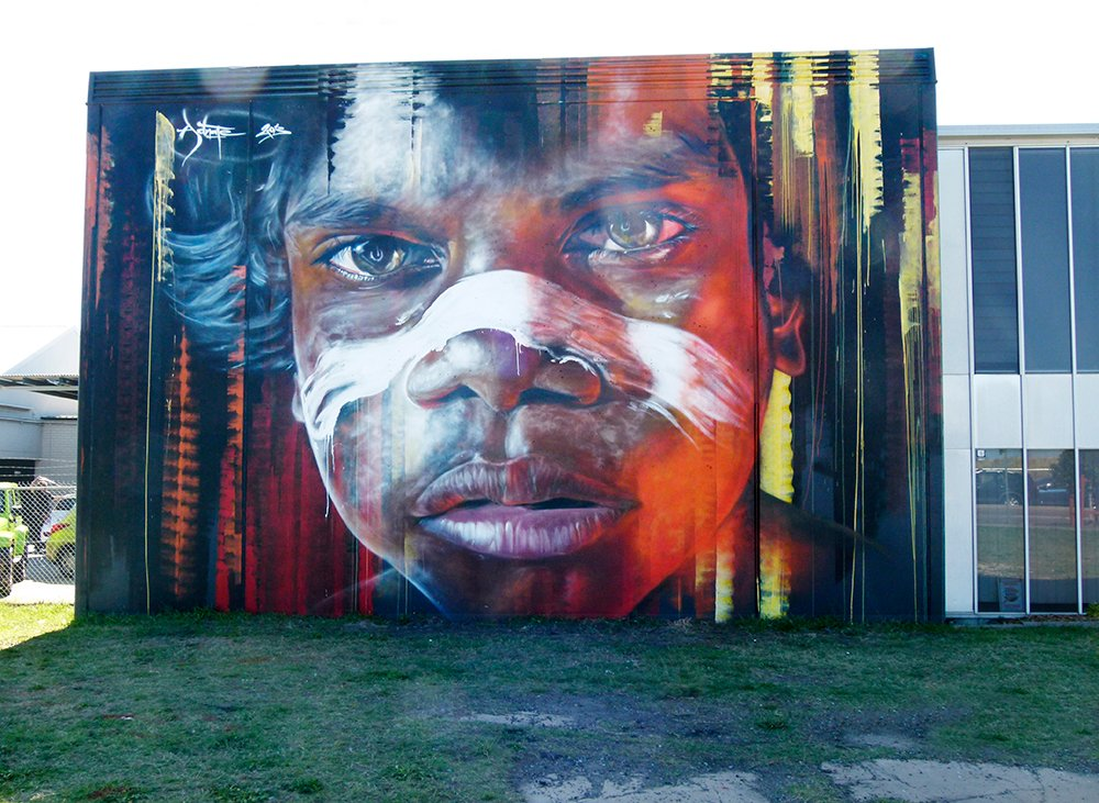 Aboriginal Boy Street Art by onewing