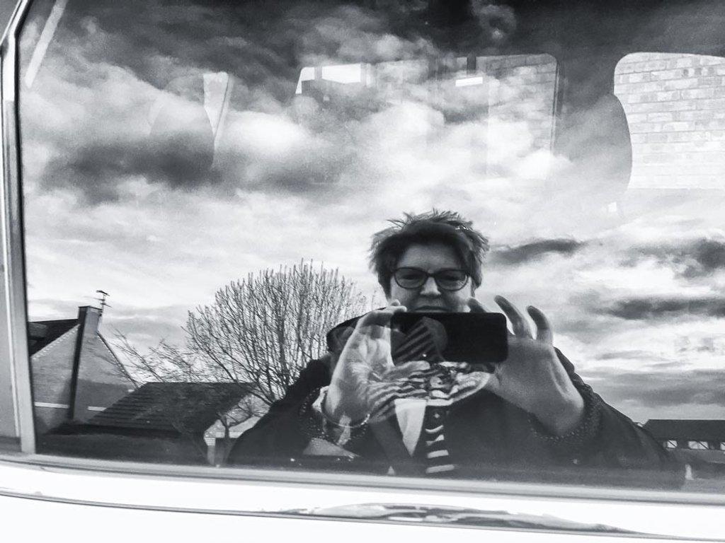 Car window selfie by pamknowler
