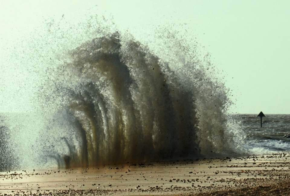 High tide at felixstowe yesterday.  by janemartin