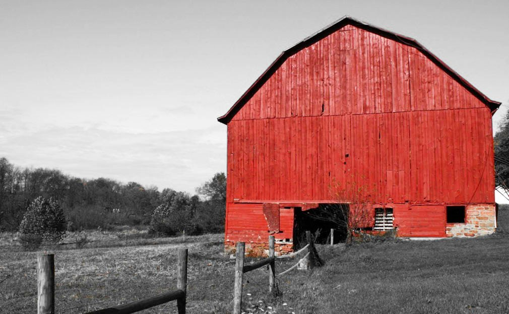 Red barn by mittens