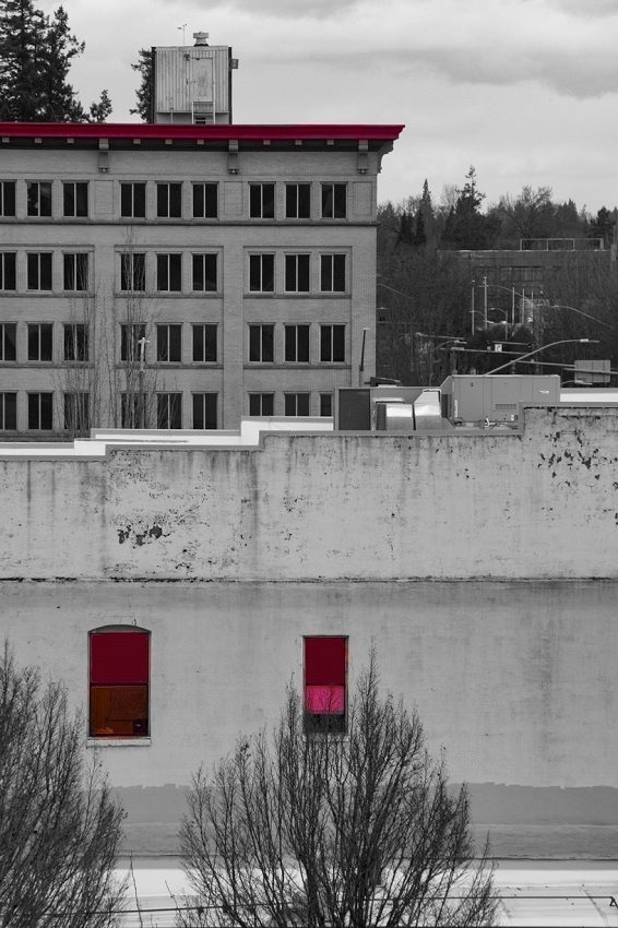 Architecture with a Flash of Red by granagringa