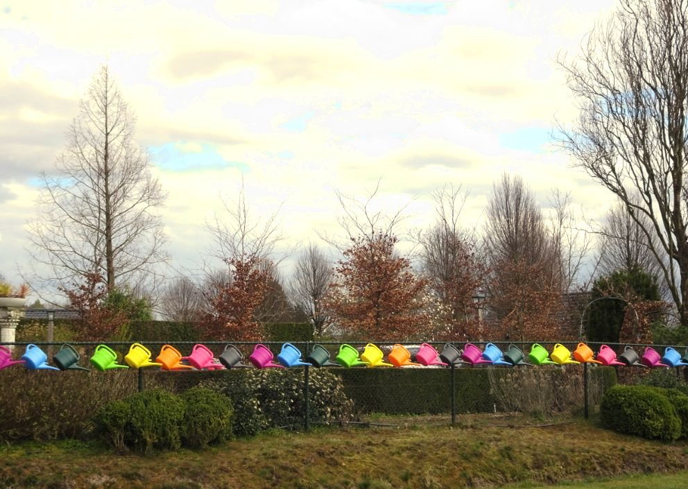 colourful watering cans by gijsje