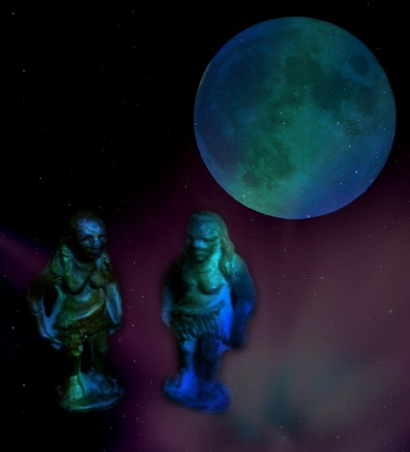 Two lovely ladies under the old, old moon by mcsiegle