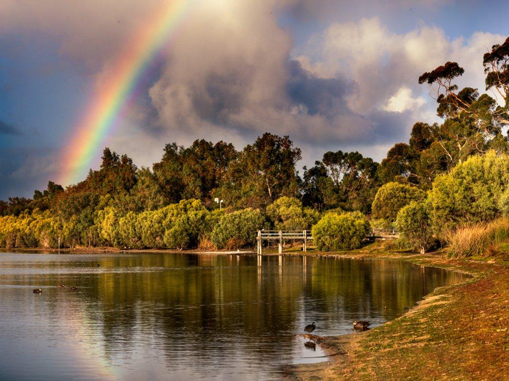 Rainbows at Sunrise by glendamg
