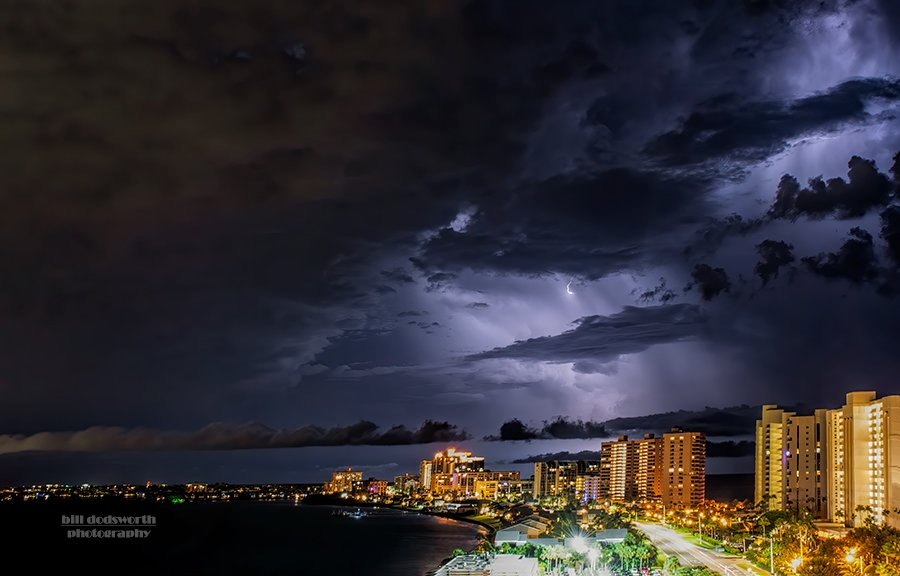Stormy night on Sand Key, Florida by photographycrazy