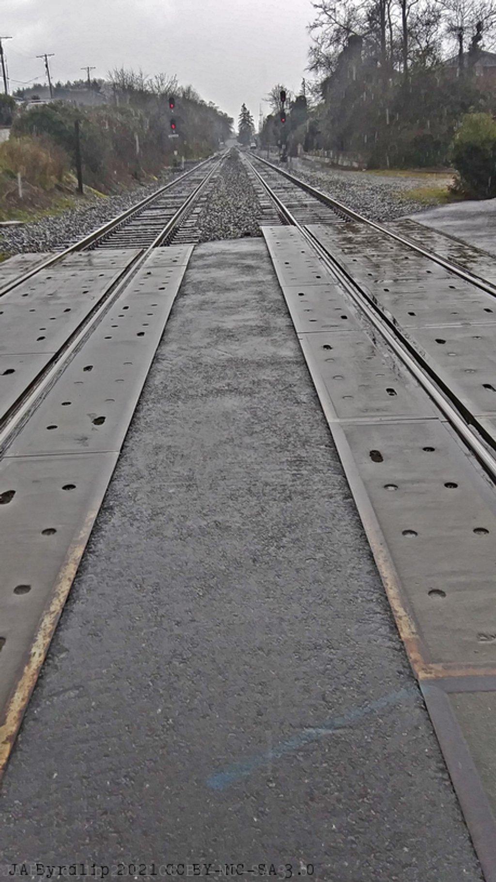 Waiting For a Train in the Rain by byrdlip