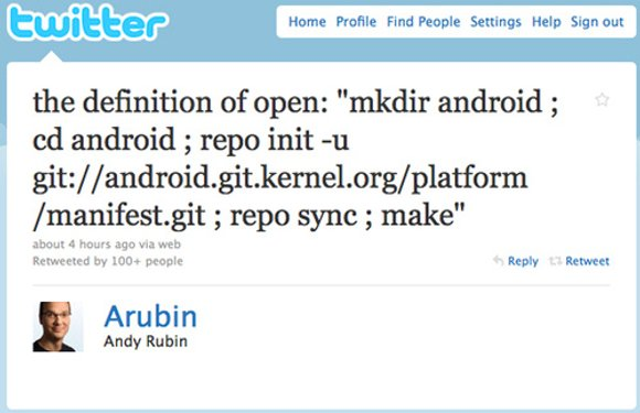 Android-oprichter Andy Rubin verzendt zijn eerste tweet