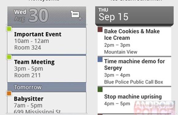 Screenshots widgets Gmail, E-mail en Agenda Ice Cream Sandwich gelekt