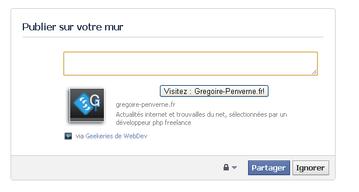 Publier un bouton html dans un statut facebook