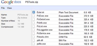 Visualisez le contenu d'un .zip sur Google Docs